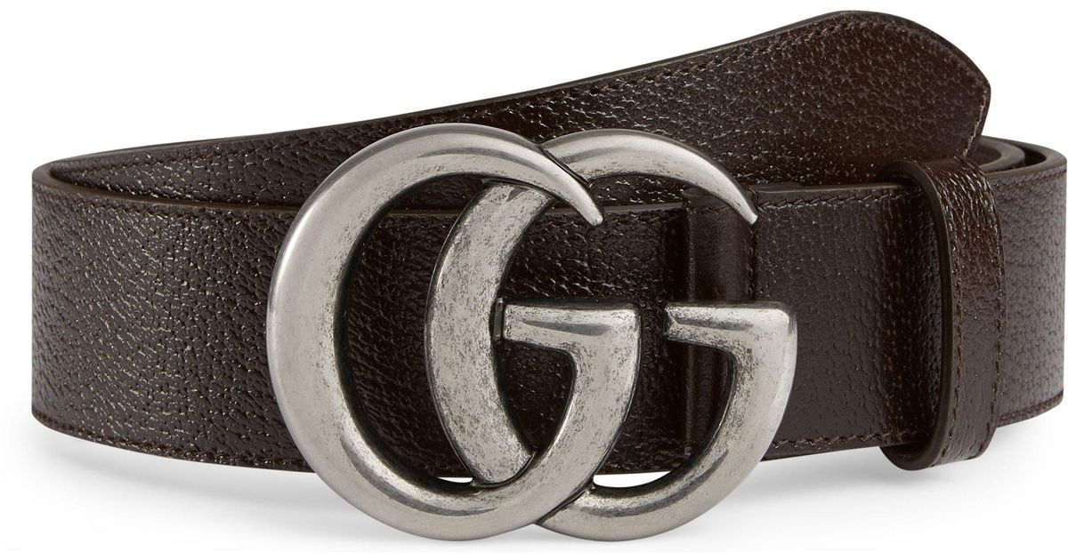 ae0aaf98a7e Lyst - Gucci Gg Pebbled Leather Belt in Brown for Men