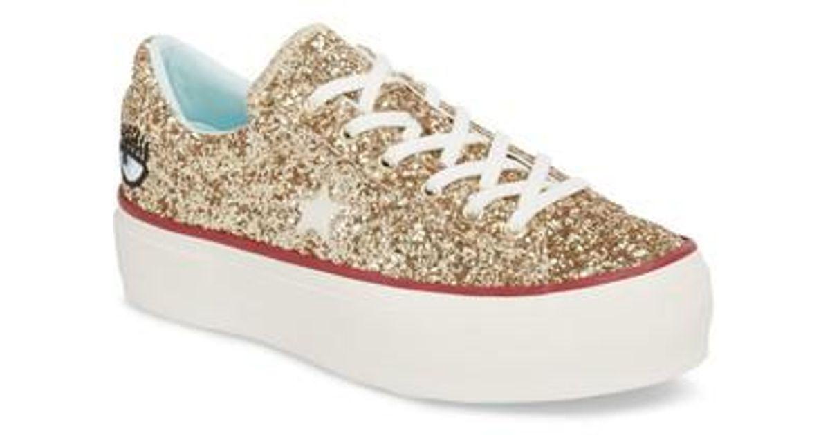 212c3ee71127 Lyst - Converse X Chiara Ferragni One Star Glitter Platform Sneaker in  Metallic