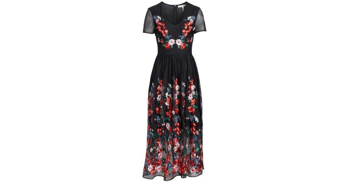 f8b1b8276b Lyst - Maje Raphael Embroidered Midi Dress in Black
