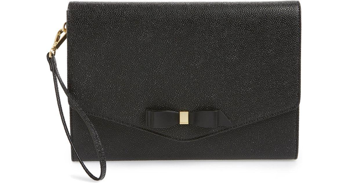 355c3f6c2 Lyst - Ted Baker Krystan Bow Leather Envelope Clutch - in Black