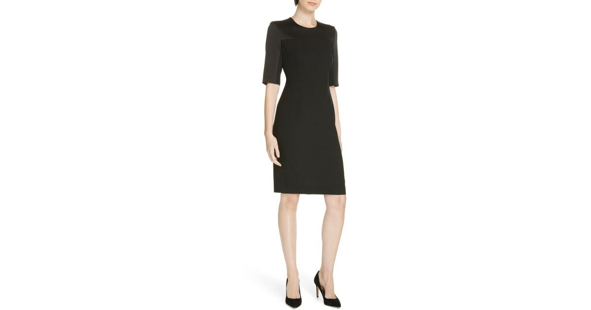 9955d990be2 Lyst - BOSS Danufa Stretch Wool Sheath Dress in Black