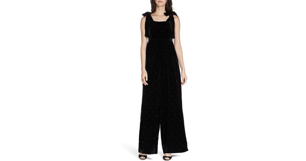 522af10d2398 Lyst - Ulla Johnson Minnet Dot Velvet Jumpsuit in Black