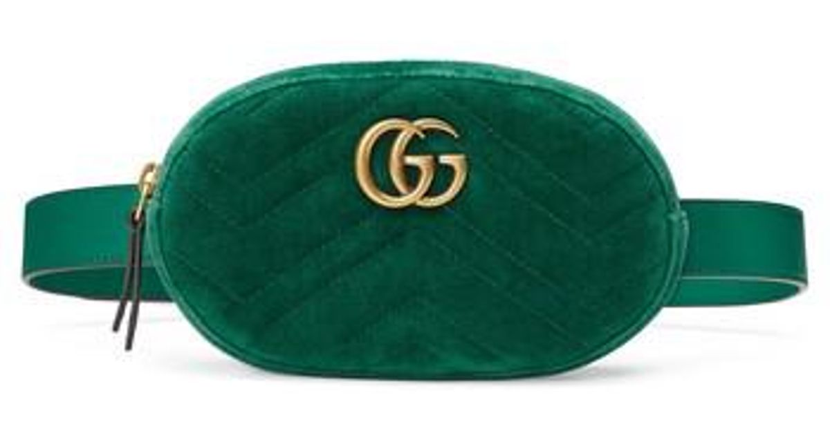 064e512a619a Gucci Small Gg Marmont 2.0 Velvet Belt Bag in Green - Lyst