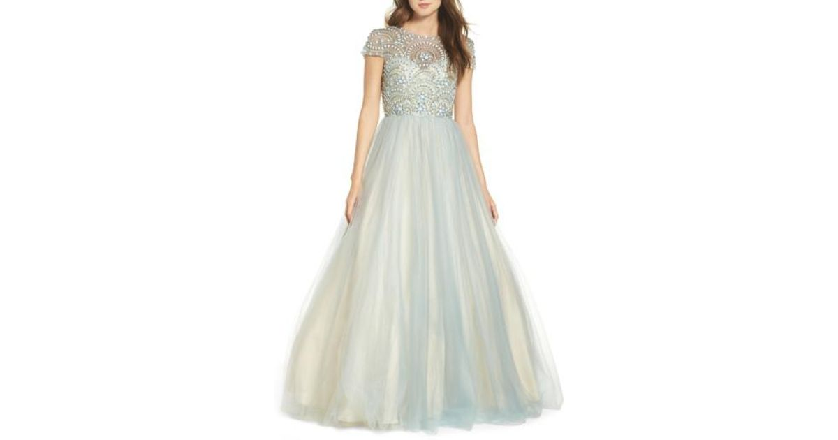 Lyst - Mac Duggal Beaded Bodice Tulle Ballgown in Blue