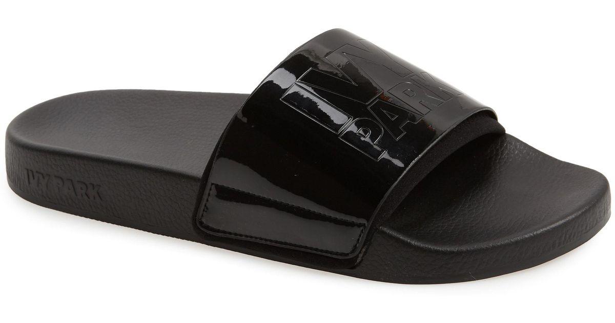 11e09b9c6 Lyst - Ivy Park High Shine Embossed Slide Sandal in Black