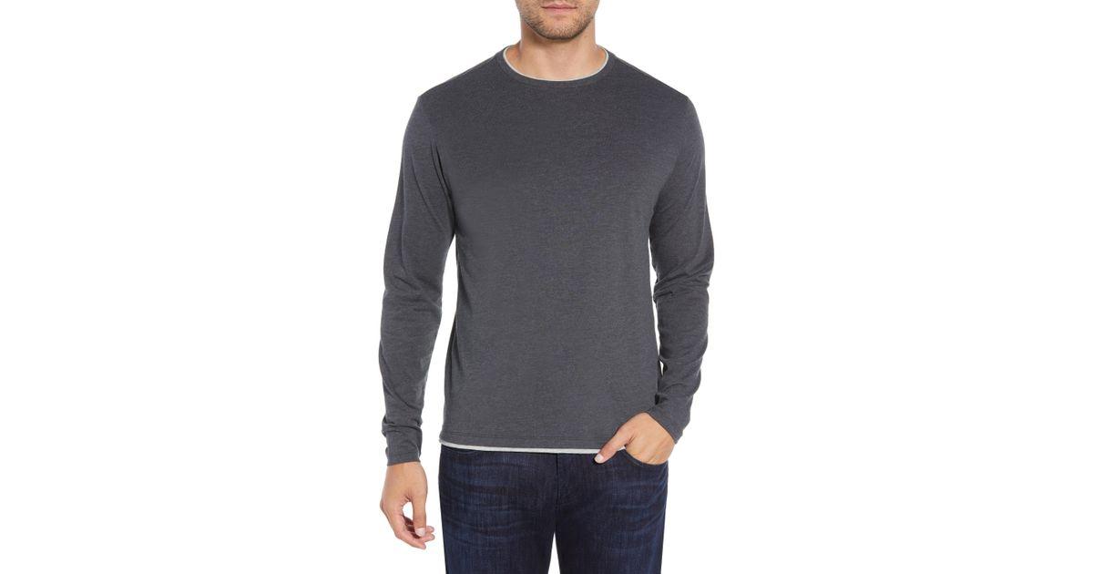 3968e2788e2329 Lyst - Robert Barakett Halifax Long Sleeve Crewneck T-shirt in Metallic for  Men