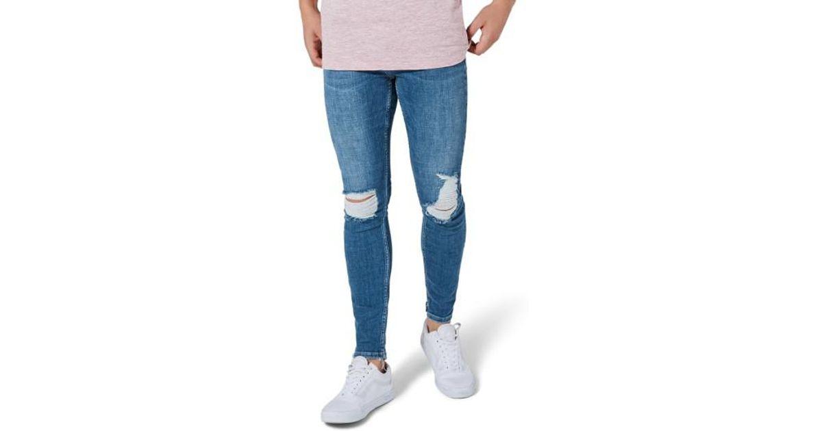 Blue Lyst Arthur Jeans Stretch Men Topman Ripped In Skinny For xUw0Ax1