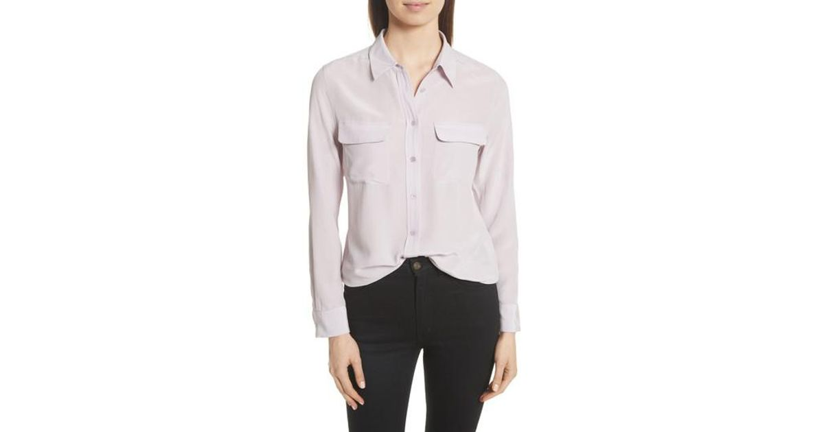 1a0160785c928 Lyst - Equipment Slim Signature Silk Shirt
