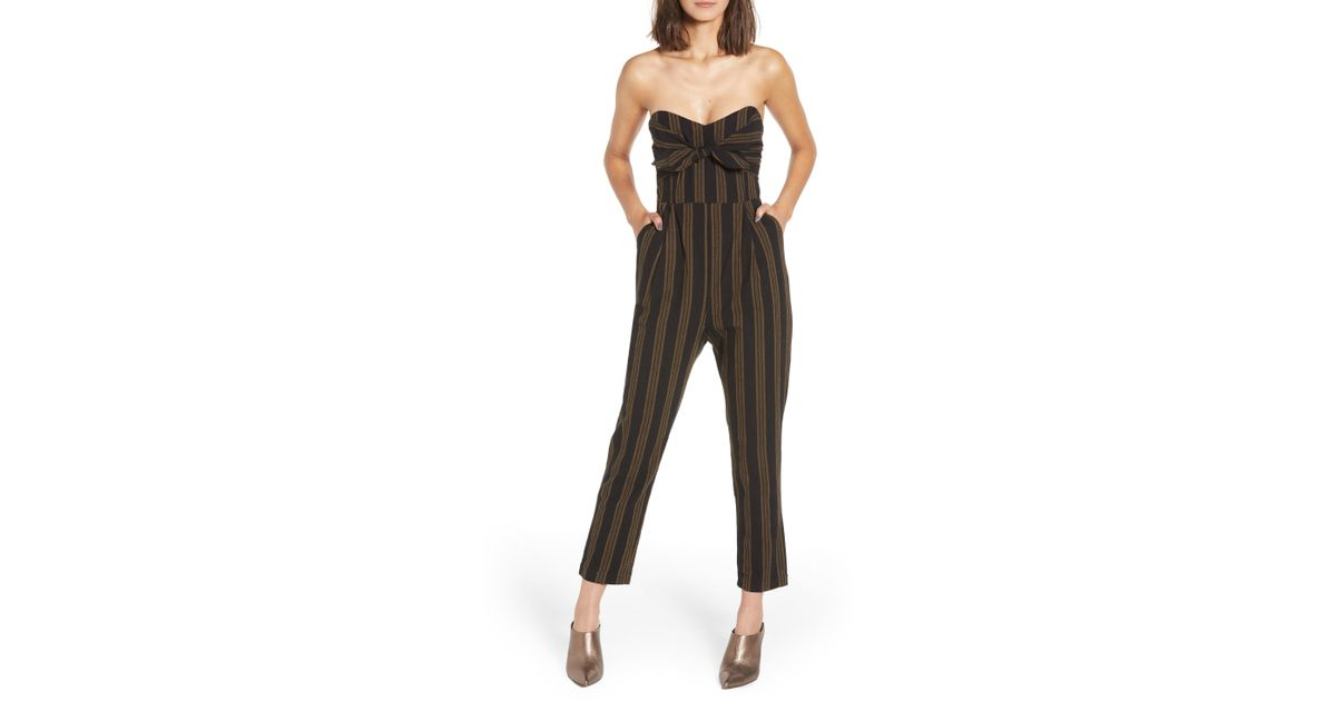 3020947f386 Lyst - Nordstrom Knot Front Stripe Jumpsuit in Black