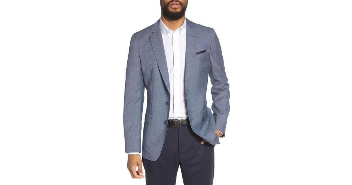 df7801541 BOSS Hartlay Trim Fit Wool Blazer in Blue for Men - Lyst