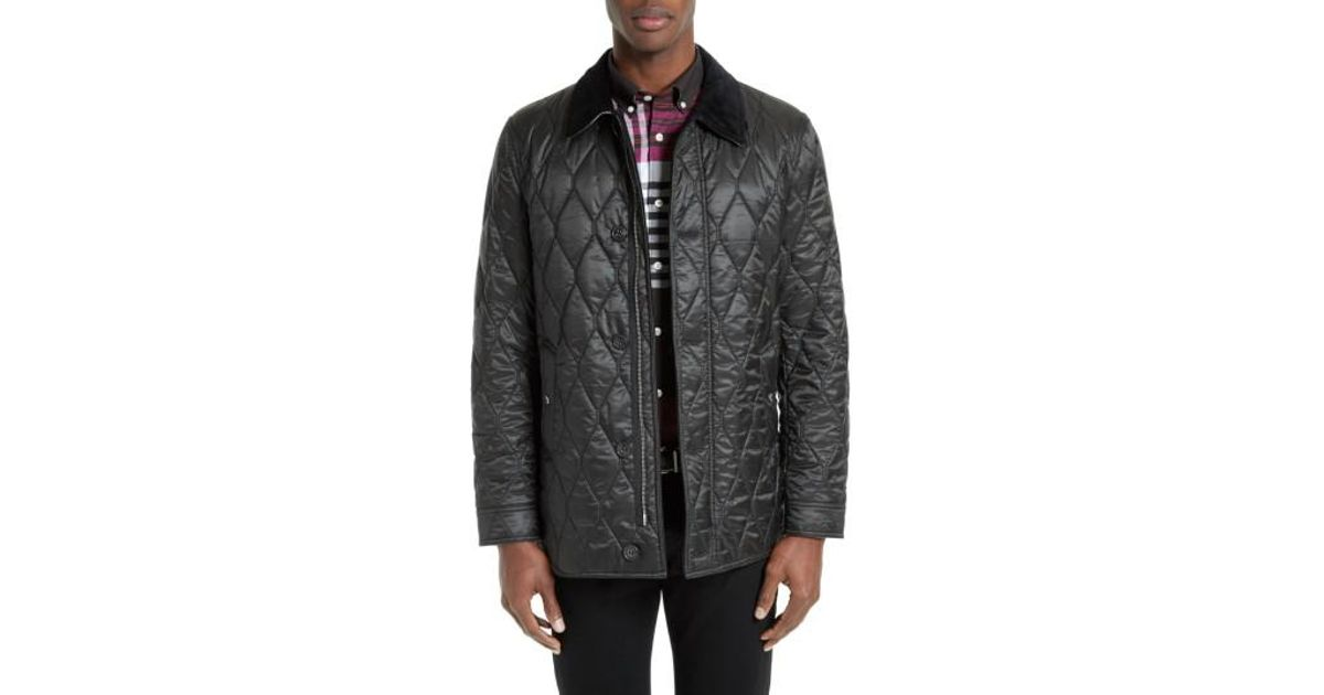 0c2c1d5428df Lyst - Burberry Gransworth Leather Elbow Patch Quilted Jacket in ...