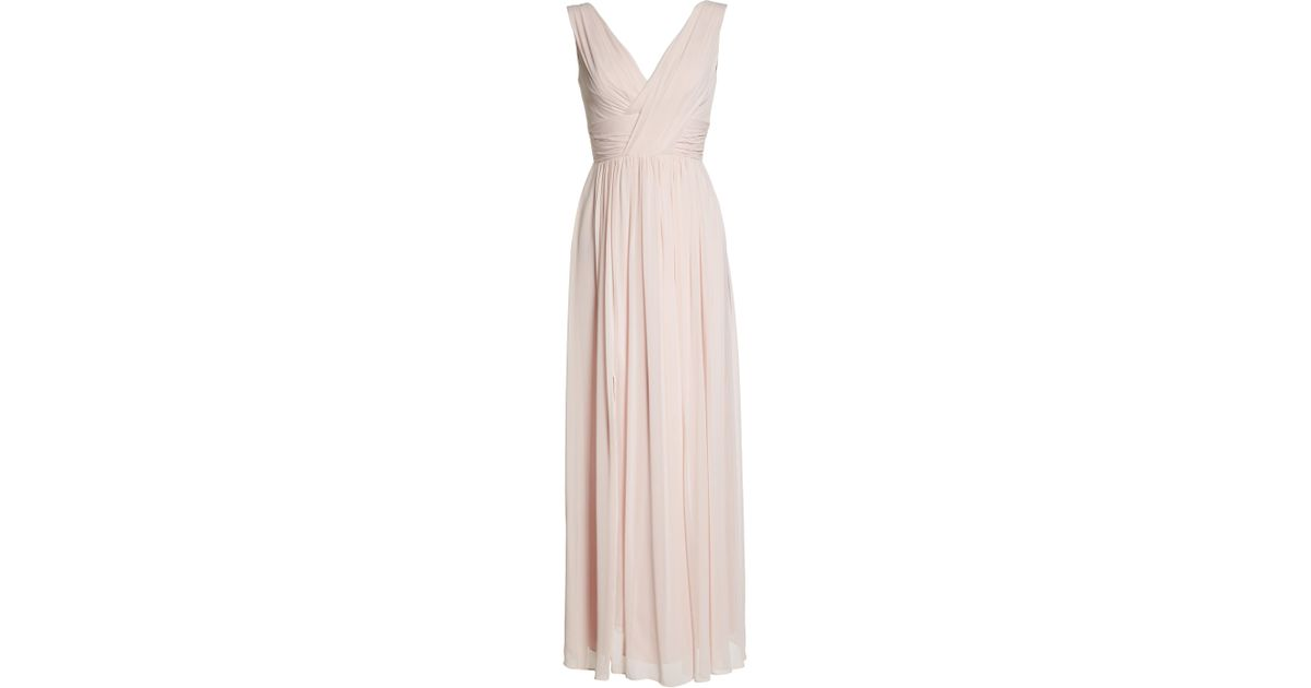 d0621d54818 Lyst - Dessy Collection Lux V-neck Chiffon Gown in Pink