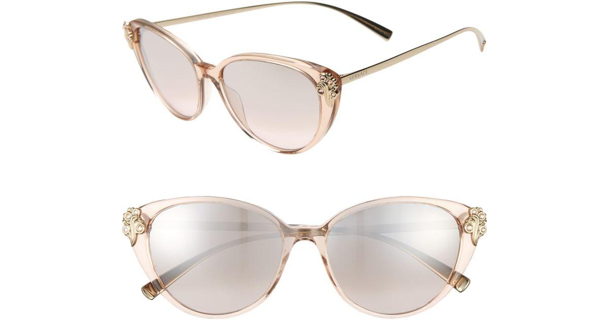 df3adfed2a Versace 55mm Embellished Cat Eye Sunglasses in Metallic - Lyst
