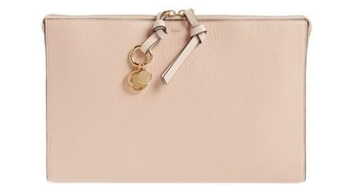 Light pink leather Alphabet clutch bag Chloé New Arrival Fashion NmO3CpYar