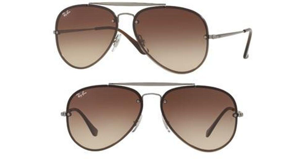 44ce3d9dc5 Lyst - Ray-Ban 61mm Gradient Lens Aviator Sunglasses - Gunmetal  Brown in  Brown