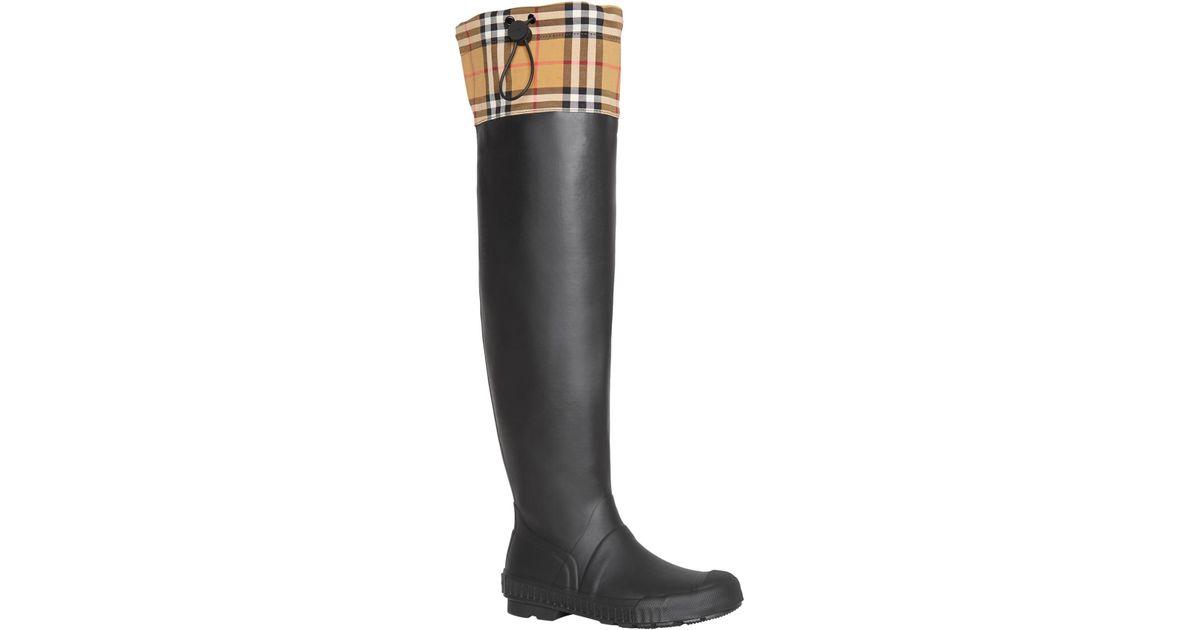 24fe07da1a Lyst - Burberry Freddie Tall Waterproof Rain Boot in Black