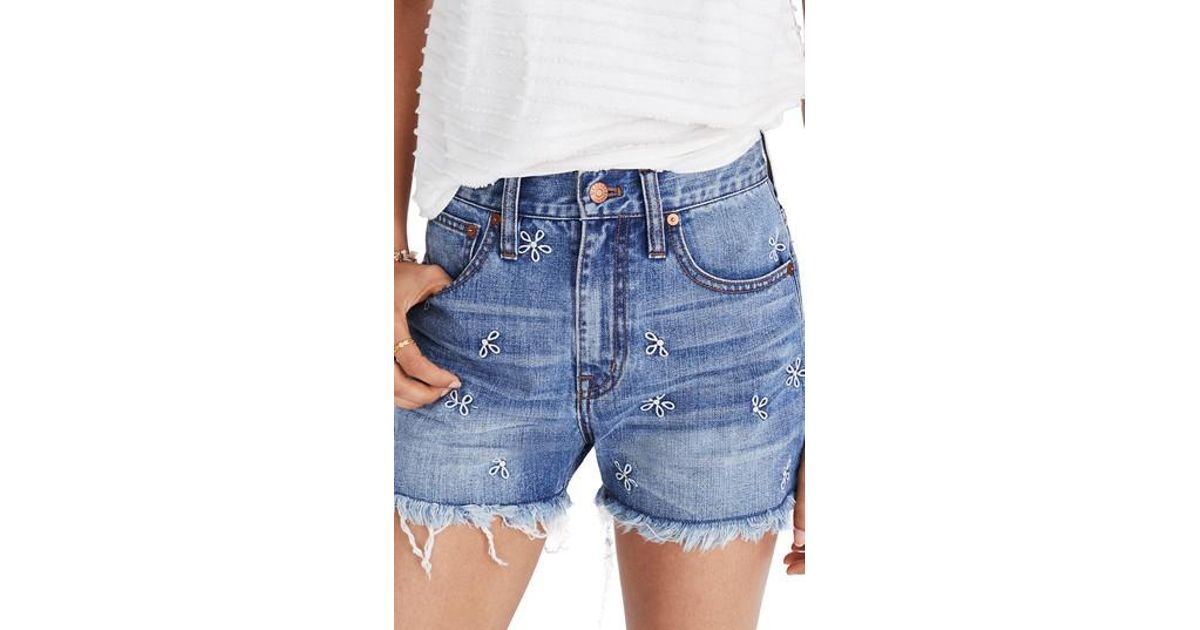 8115d30dba41 Madewell Perfect Daisy Embroidered High Waist Denim Shorts in Blue - Lyst