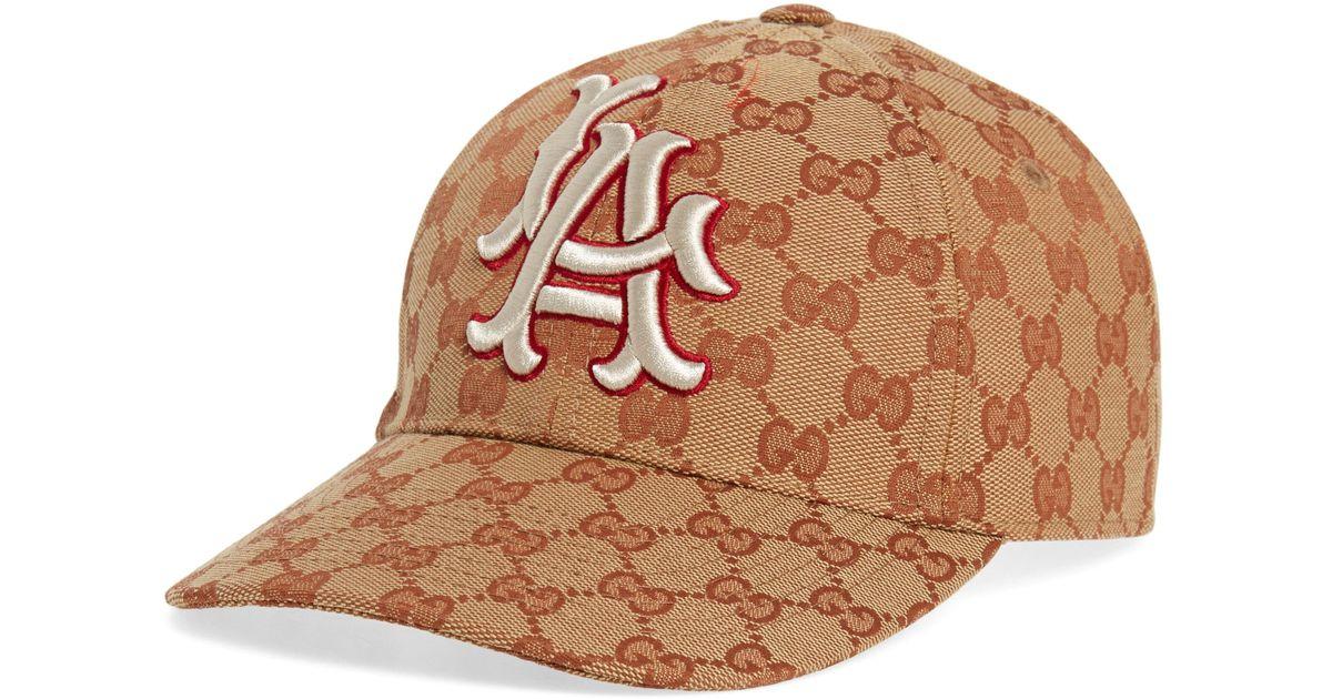 2ca056450fe03f Lyst - Gucci La Original Gg Canvas Baseball Cap in Brown
