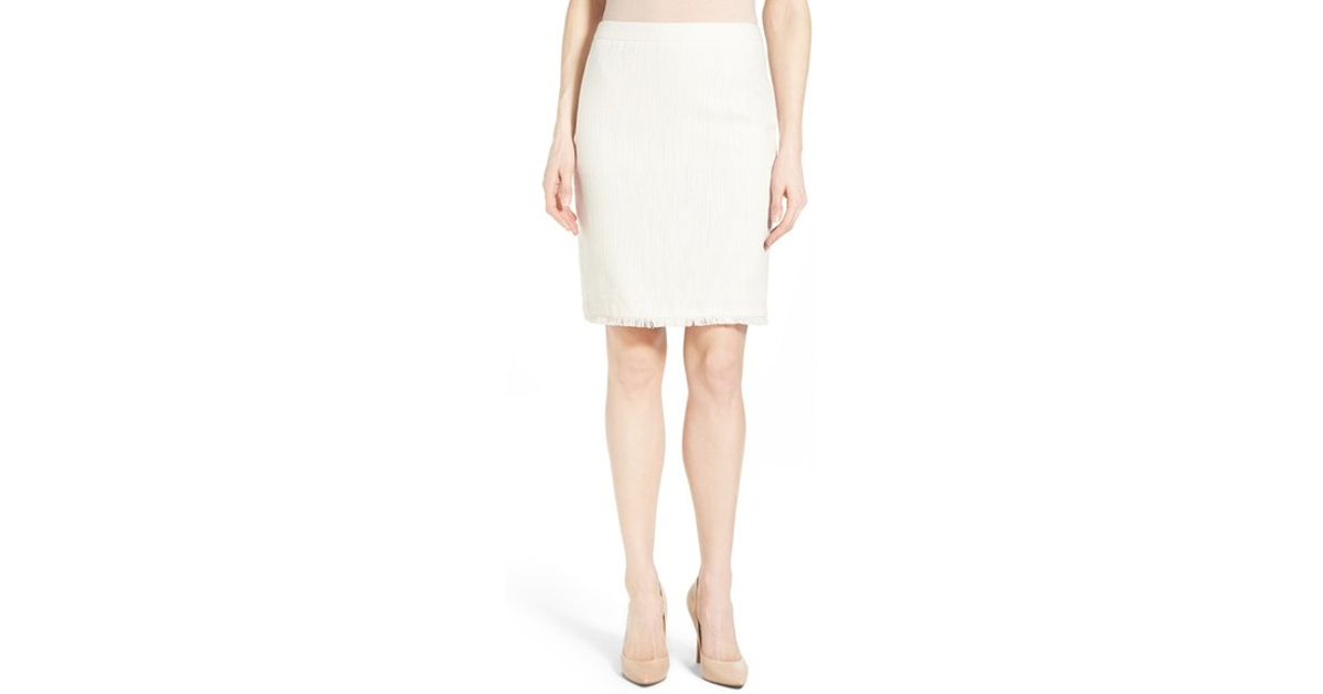 68498e676d Lyst - Halogen Novelty Tweed Pencil Skirt in White