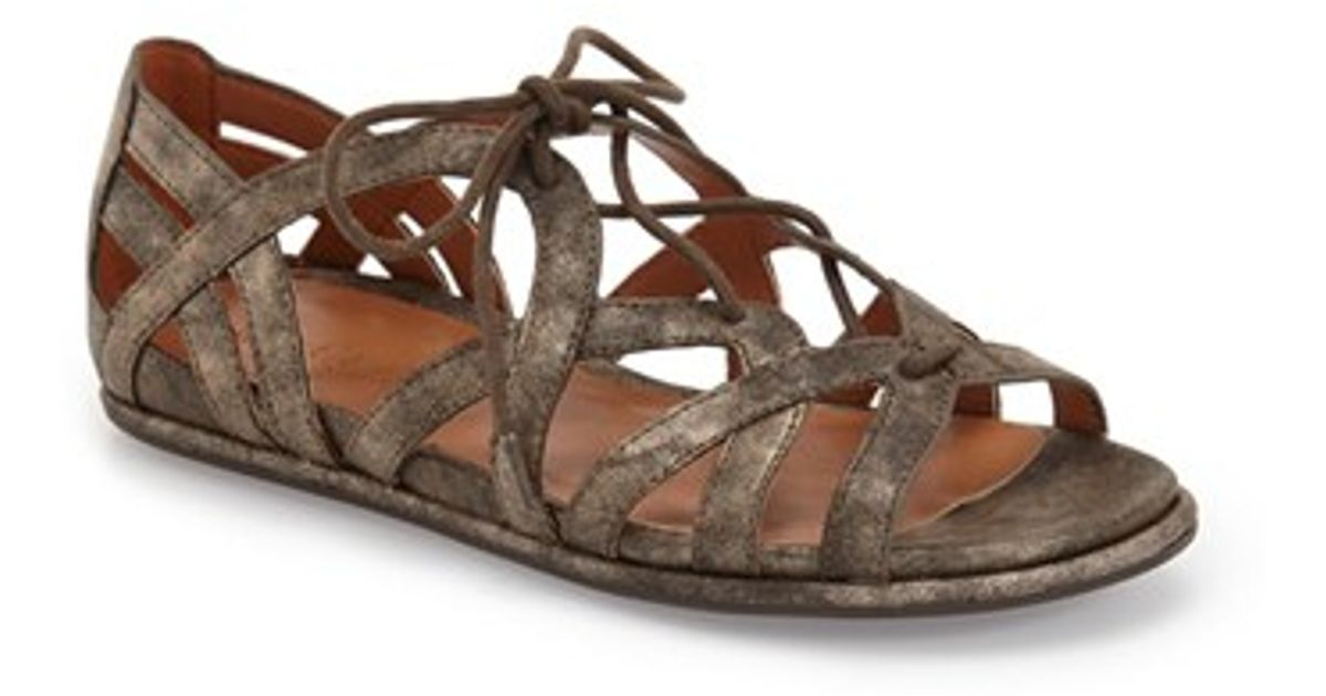 e6db827a087 Lyst - Gentle Souls Orly Leather Lace-Up Sandals in Gray