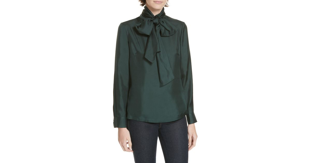 fd49787262ae48 Lyst - Ted Baker Marther Tie Neck Silk Blouse in Green