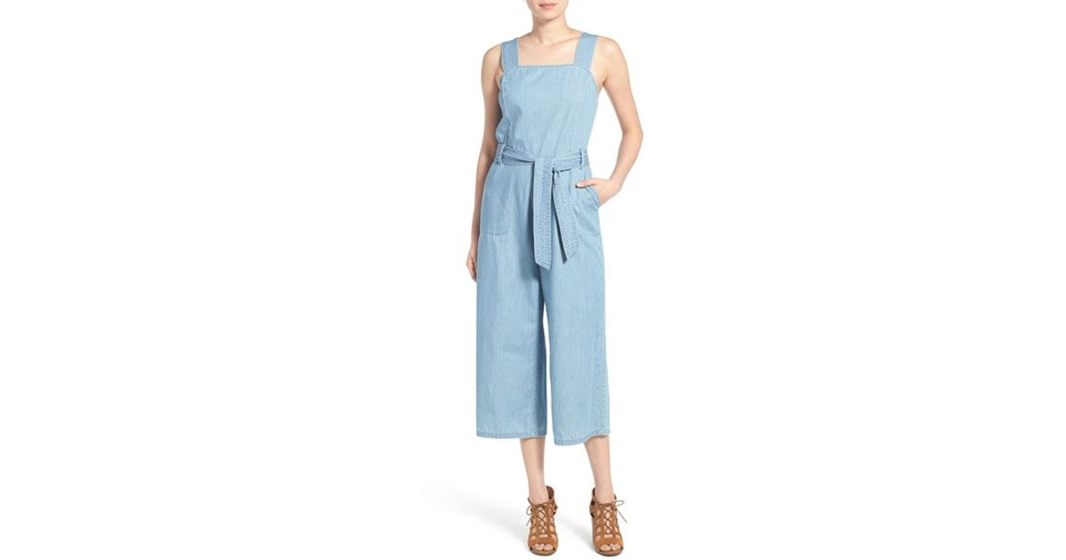 8b2fab9f02f1 Lyst - Two By Vince Camuto Culotte Denim Jumpsuit in Blue