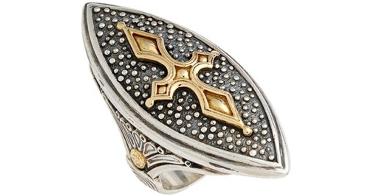 konstantino hebe marquise cross ring in metallic lyst