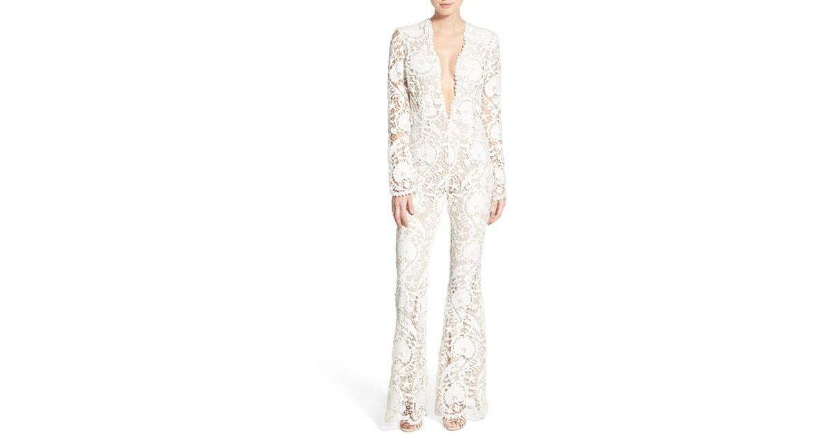 976d6e49d74 Lyst - Stone Cold Fox  saint  Plunge Lace Silk Jumpsuit in White