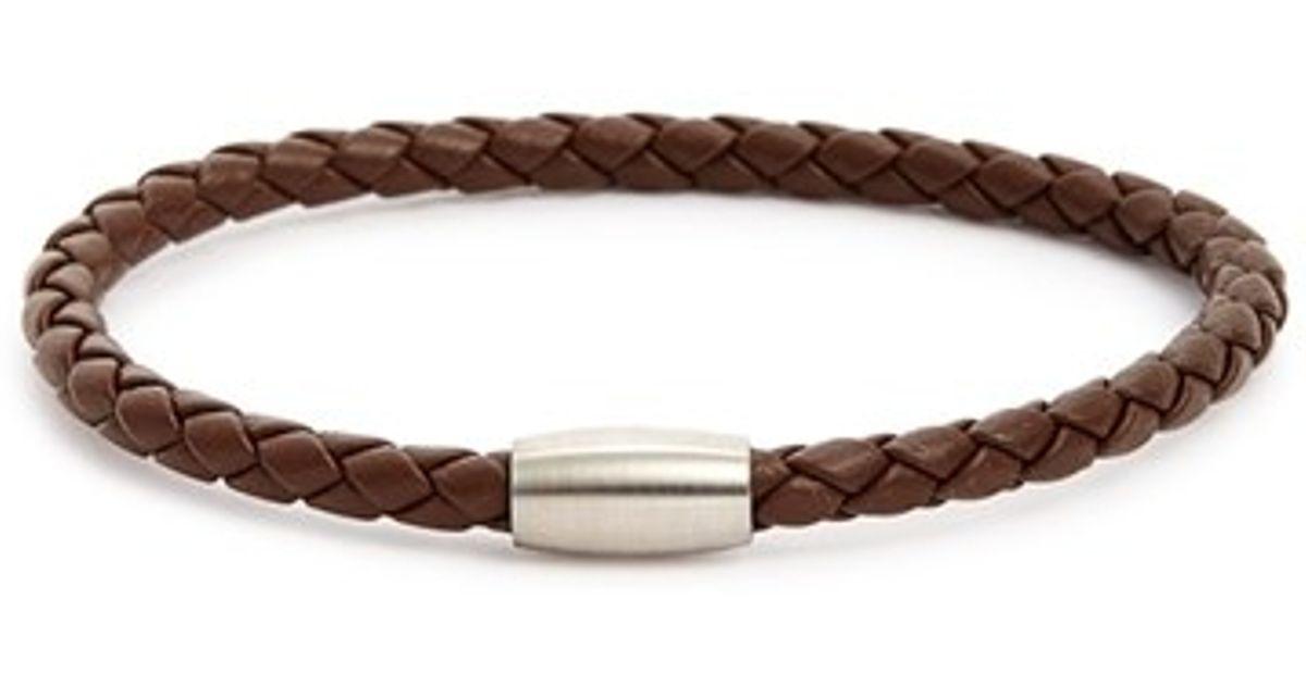 Link Up Woven Leather Bracelet In Black For Men Lyst
