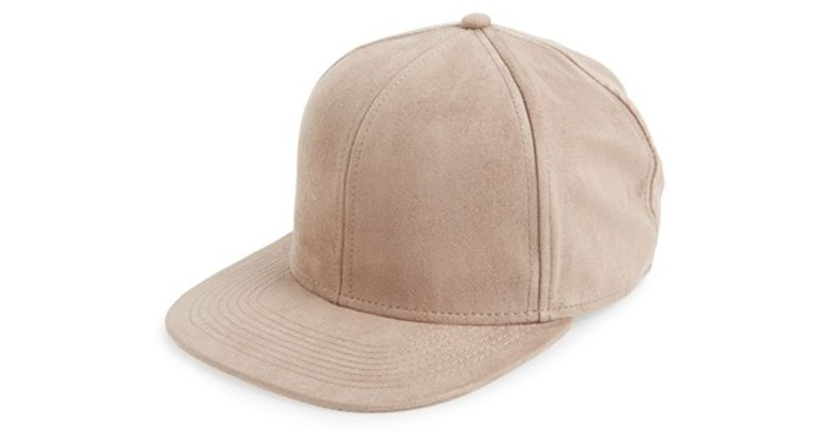 428a9efda14 Lyst - TOPMAN Faux Suede Snapback Cap in Natural for Men