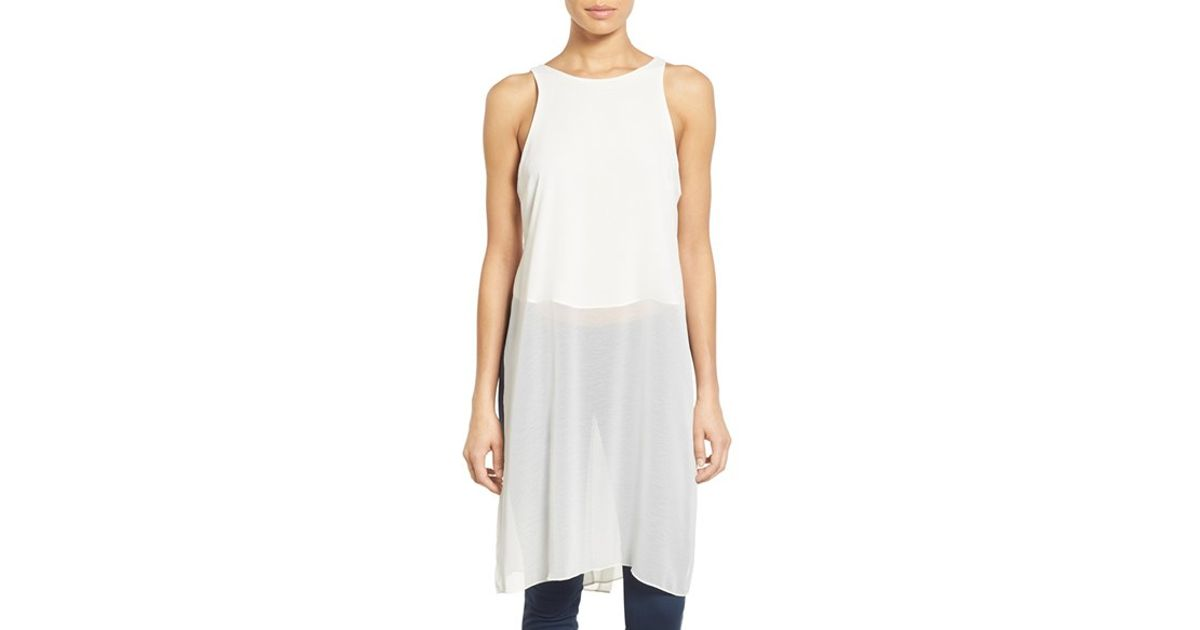 d9a56e17b1743 Lyst - Dex Tunic Overlay Sleeveless Chiffon Top in White