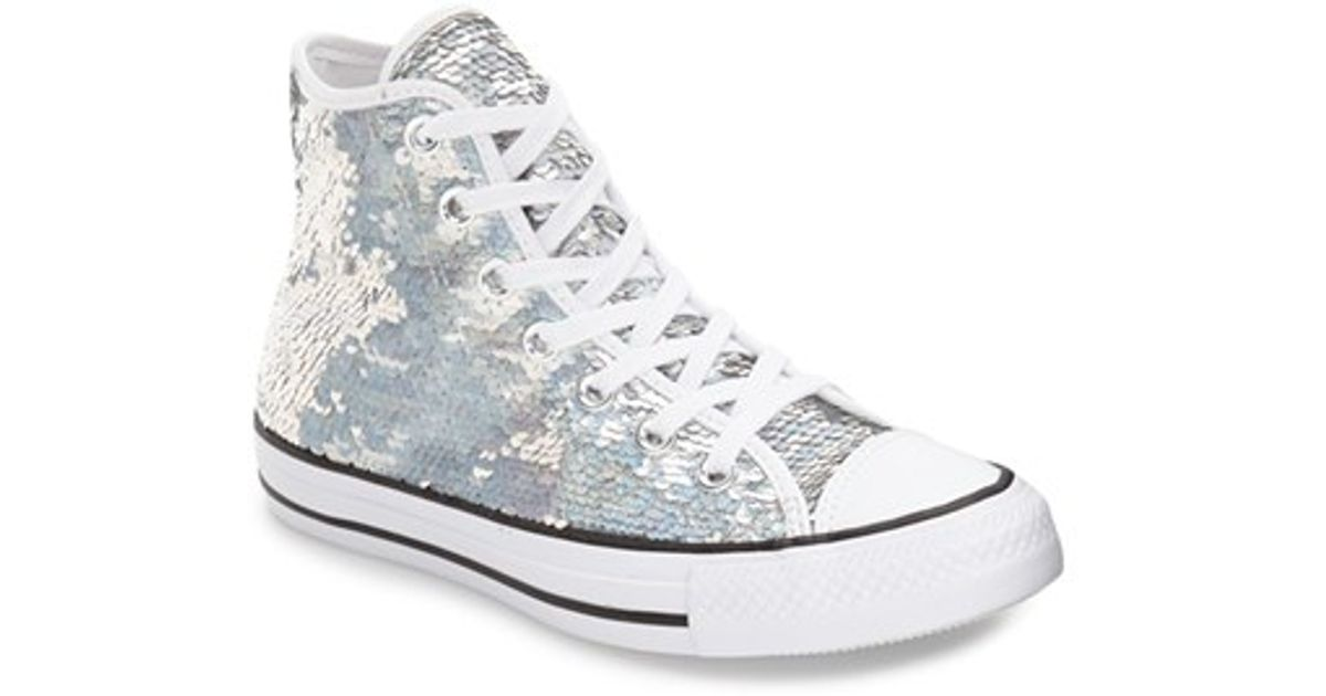 d4c5858ce98566 Lyst - Converse Chuck Taylor All Star  u0027holiday Party u0027 Sequin High  Top Sneaker