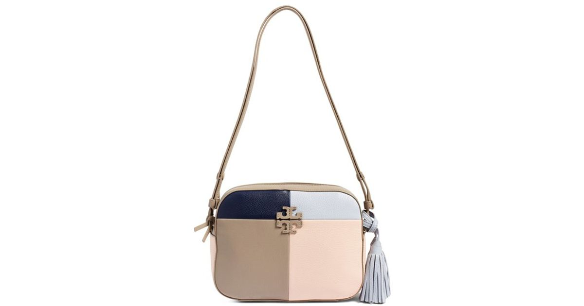 84946b95f833 Lyst - Tory Burch  thea  Patchwork Shoulder Bag in Blue