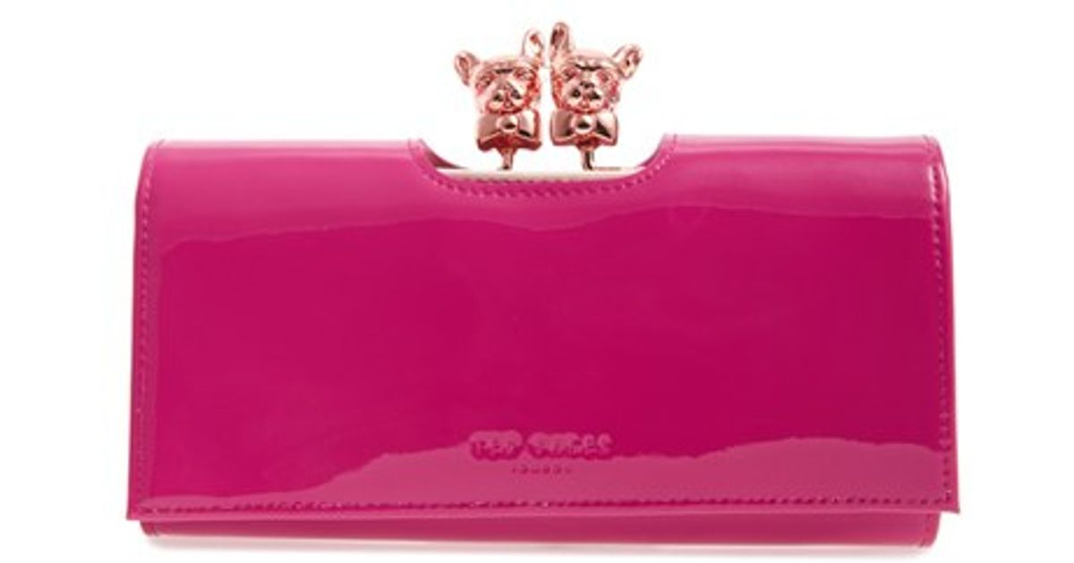 acce538b8bbb0f JOSIEY PAVE BOBBLE MATINEE Wallet pink Source · Lyst Ted Baker Bulldog  Karrine Patent Leather Wallet Purple in Pink