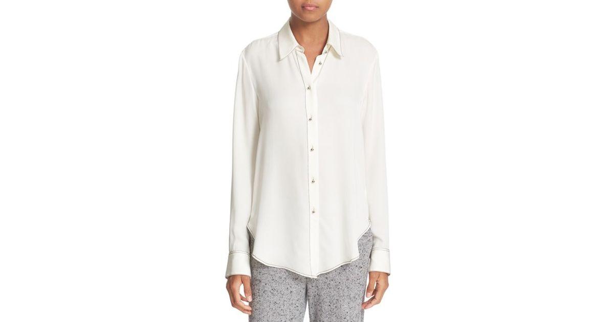 a9efcf7659fda Lyst - Theory Sunaya B Modern Contrast Stitch Silk Georgette Blouse in White
