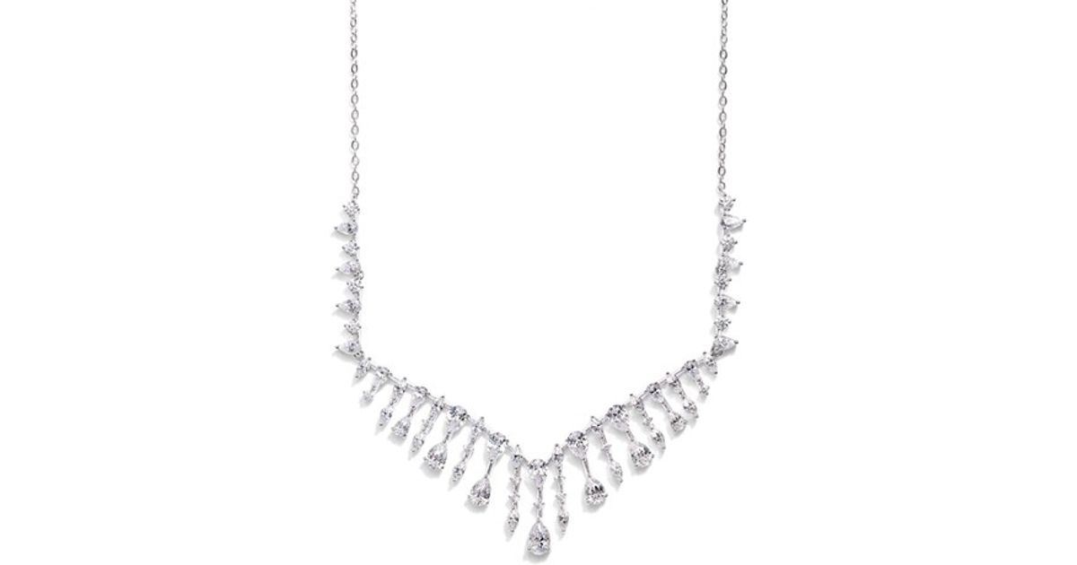 5d7c5495c Lyst - Nadri 'audrey' Cubic Zirconia Frontal Necklace in Metallic