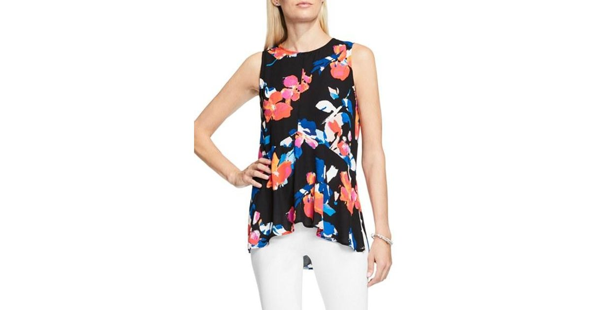 d30a5a7ef4bcc Lyst - Vince Camuto Sleeveless Rendezvous Floral Ruffle-front Blouse in  Black