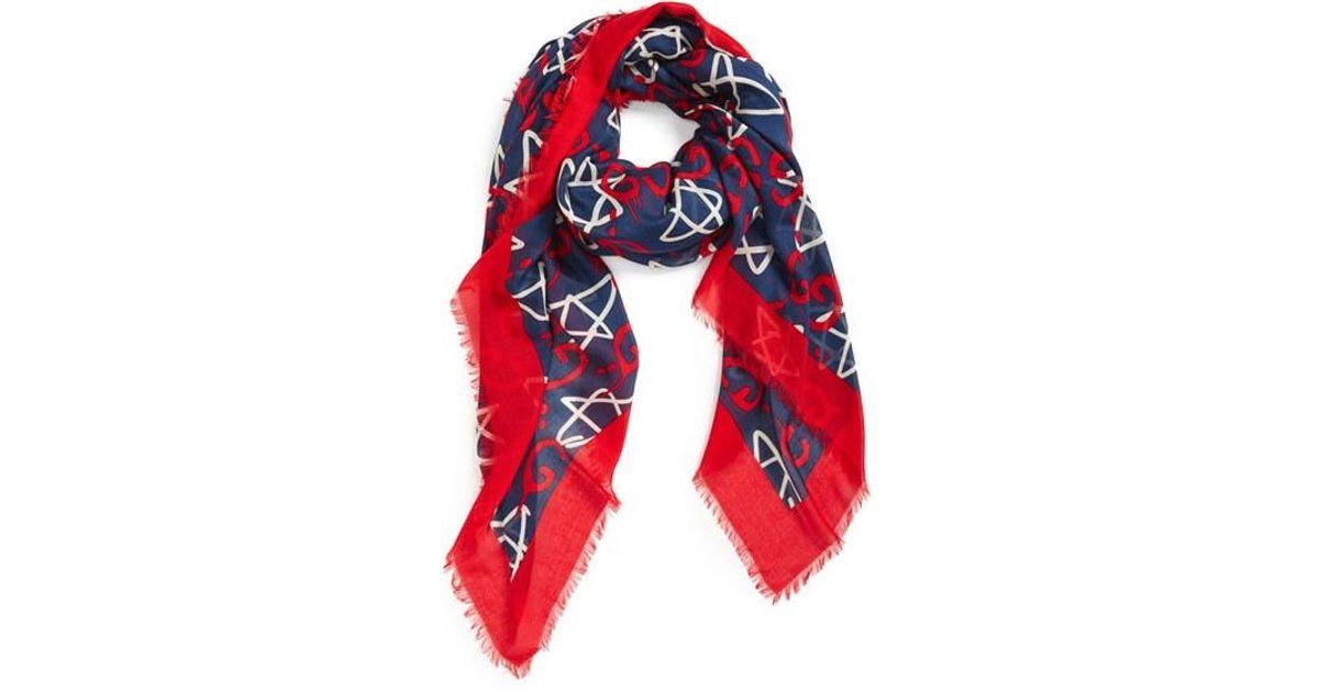 gucci ghost modal silk scarf in blue lyst