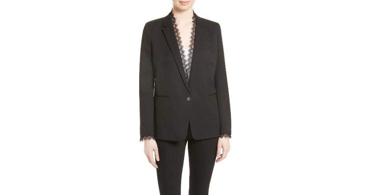 41ec83f4f5 The Kooples Lace Trim Suit Jacket in Black - Lyst
