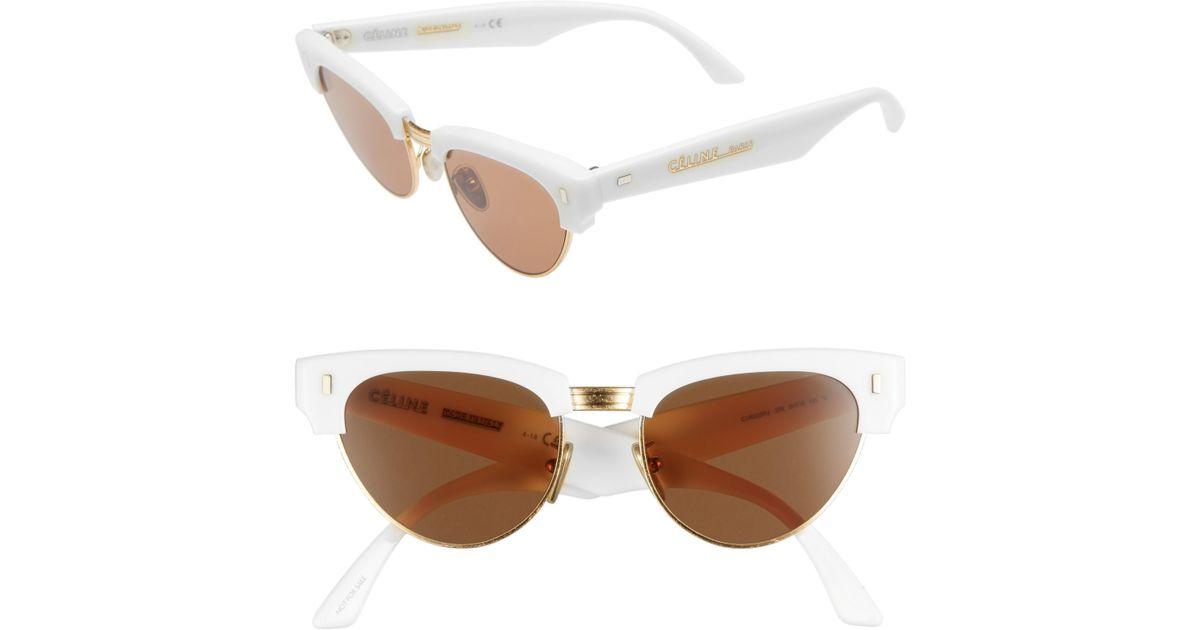6b6dcb240b8 Lyst - Céline 51mm Modified Cat Eye Sunglasses - Shiny Ivory in White