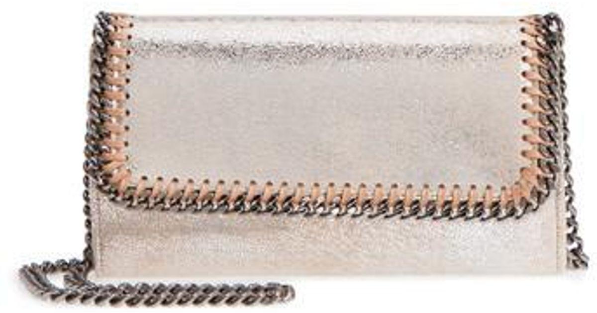 f4b22385159e4 Lyst - Stella Mccartney Falabella Metallic Faux Chamois Crossbody Bag -  Metallic in Metallic