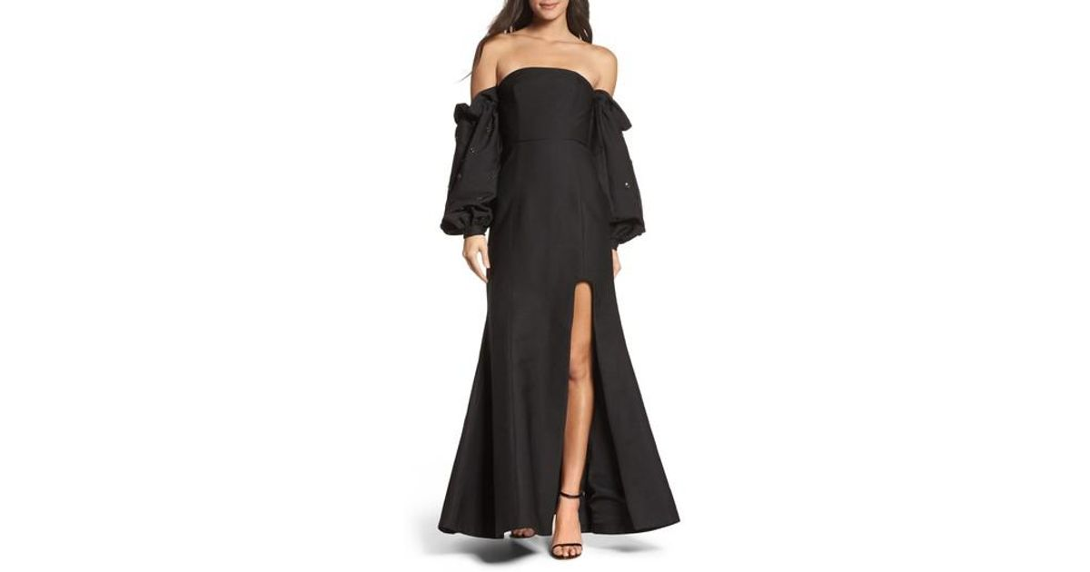 6f1f895783de Lyst - C meo Collective Assemble Embellished Off The Shoulder Gown in Black
