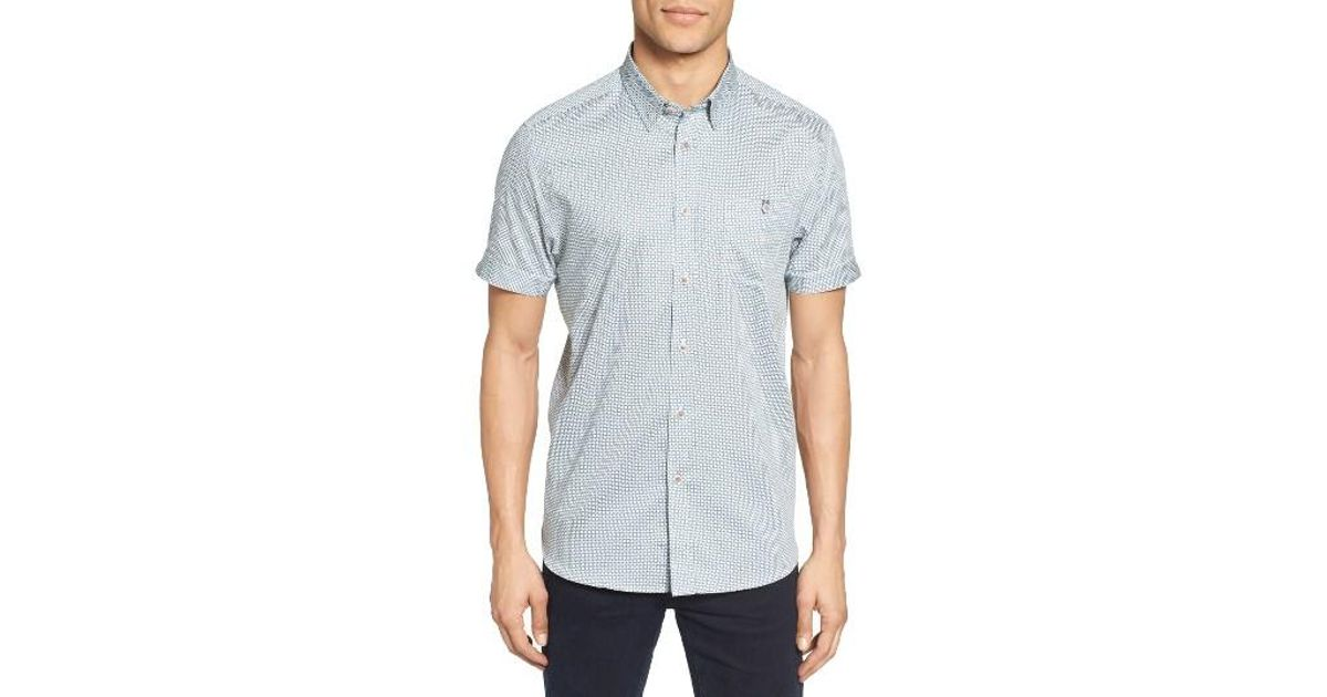 a242cffcc4a7 Lyst - Ted Baker Munkee Extra Slim Fit Diamond Print Sport Shirt in Blue  for Men