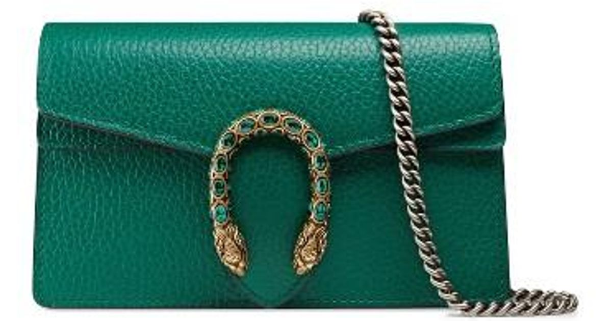 7115ca9cec1d69 Gucci Super Mini Dionysus Leather Shoulder Bag in Green - Lyst