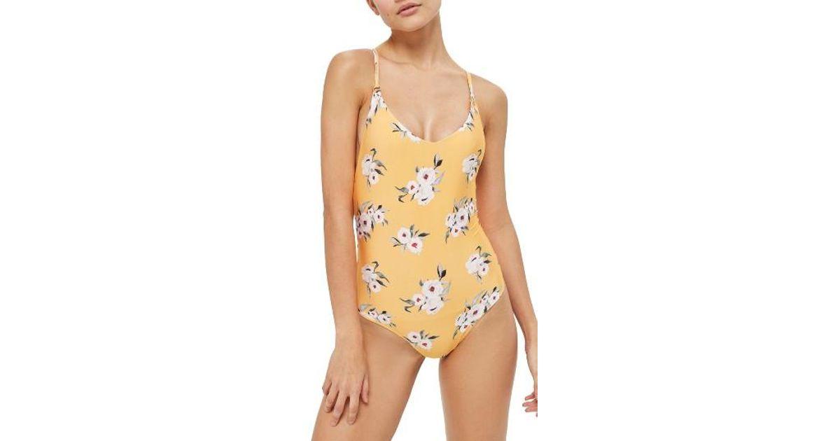4f5794fb62 Lyst - TOPSHOP Posie One-piece Swimsuit in Orange