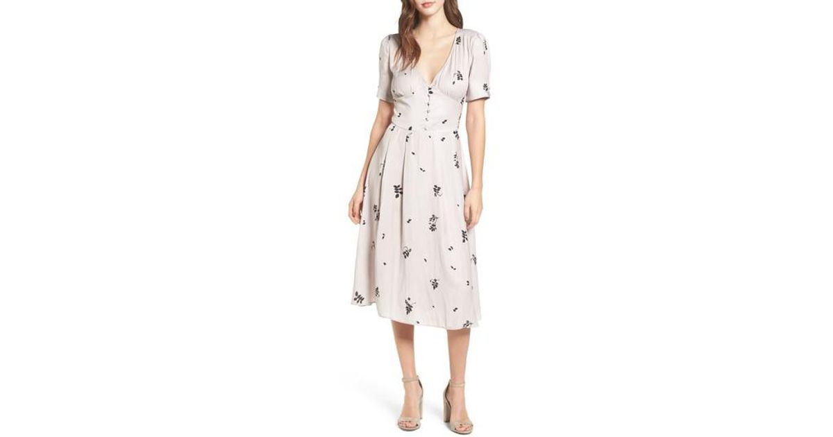 8d430396237a Chelsea28 Textured Fit & Flare Midi Dress in Pink - Lyst