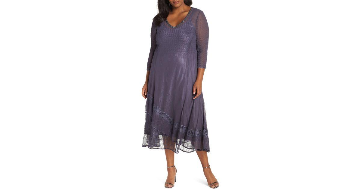 db7d07d268 Lyst - Komarov Asymmetric Lace Hem Dress (plus Size) in Purple - Save 33%