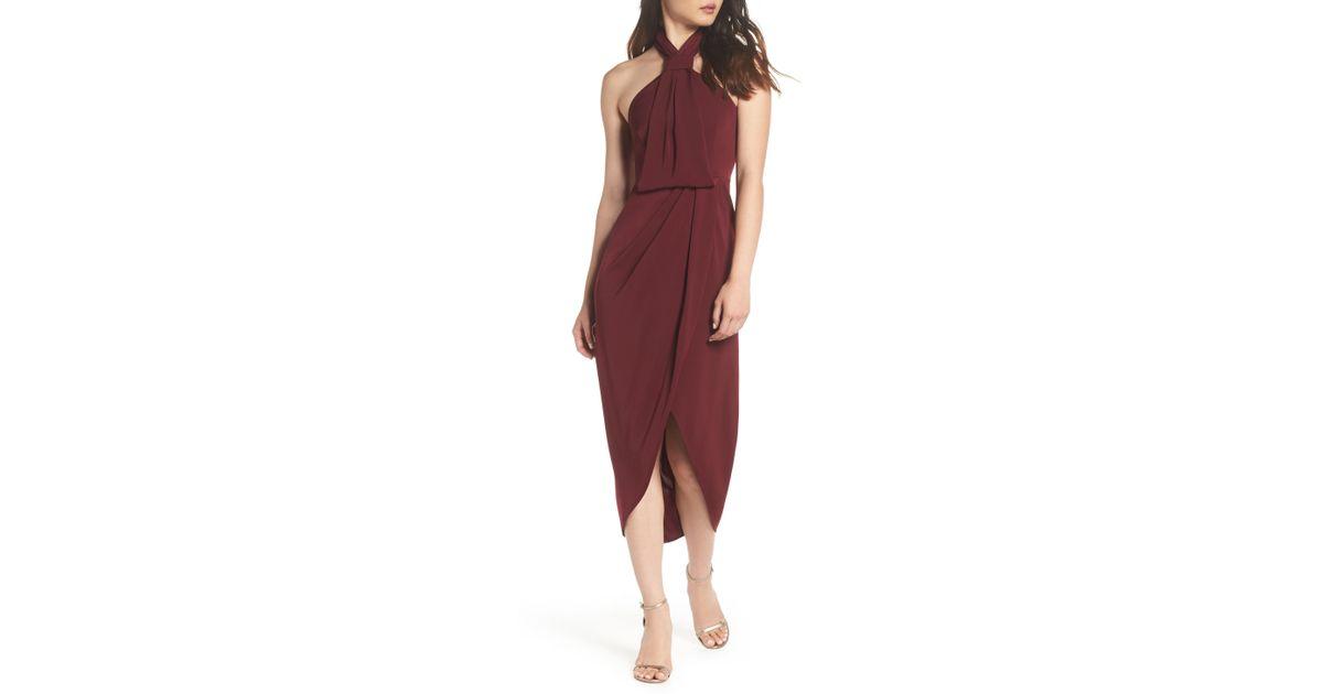 597ef20b866 Lyst - Shona Joy Knotted Tulip Hem Midi Dress