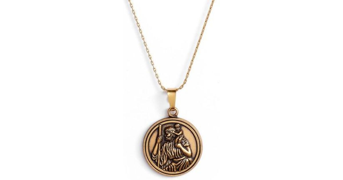 Lyst alex and ani saint christopher pendant necklace in metallic aloadofball Image collections