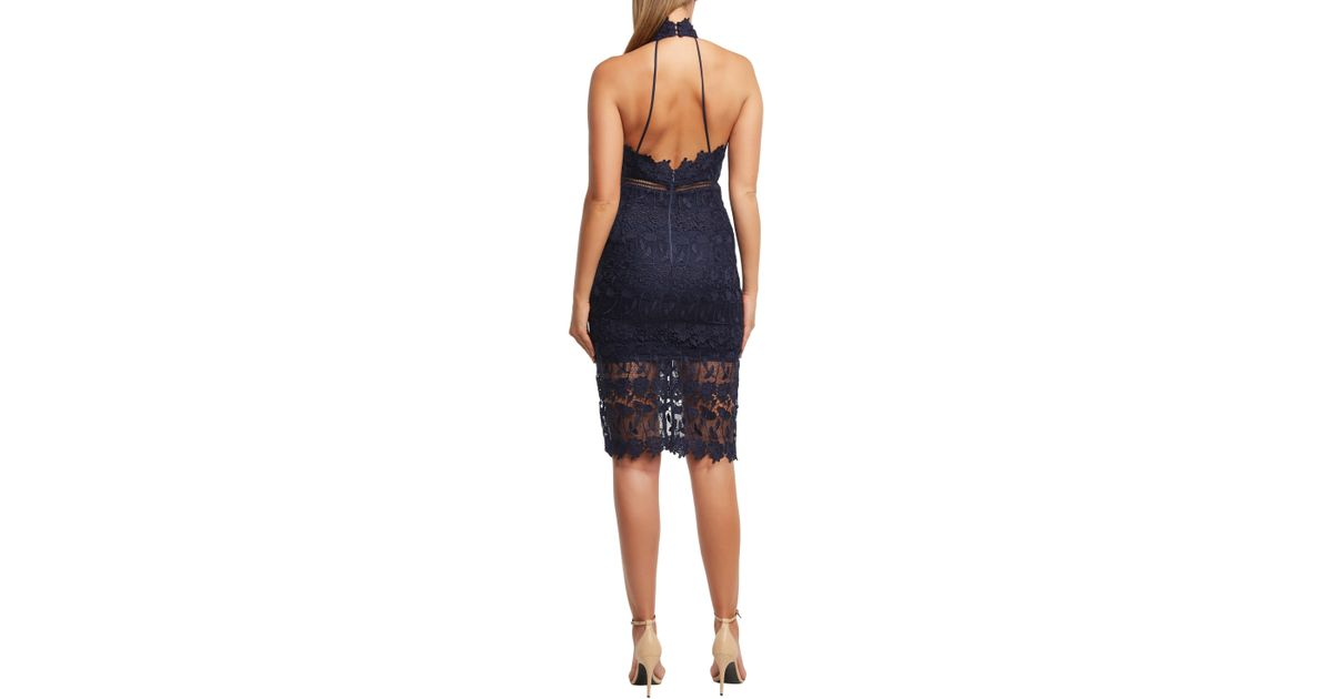 07143766 Lyst - Bardot Noni Lace Halter Dress in Blue
